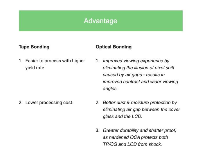 advantage optical tape vs optical bonding